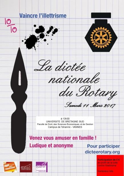 Affiche dictée du Rotary 2017 à Vannes